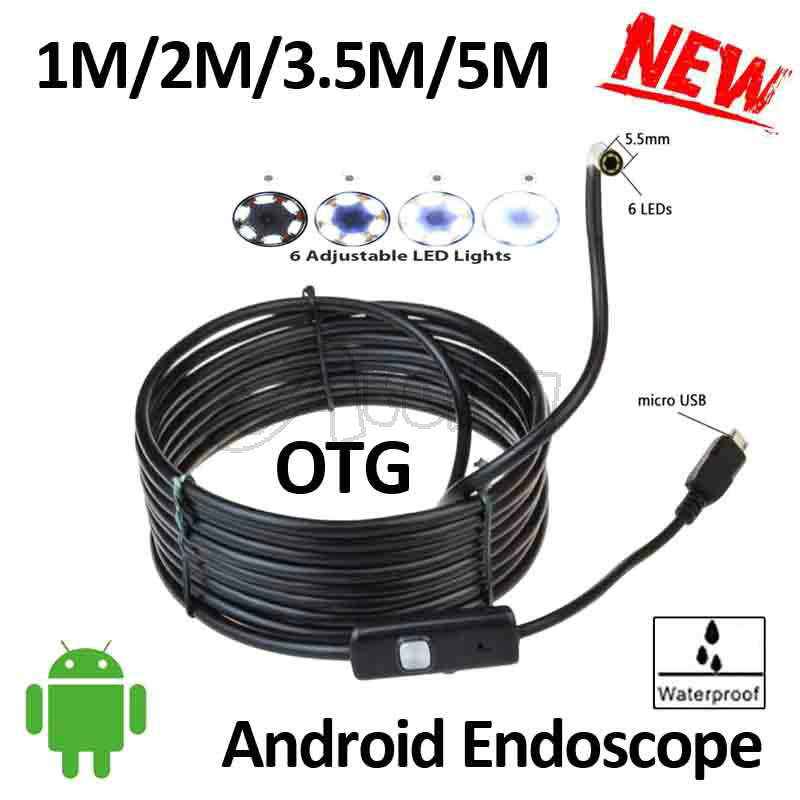 5.5mm Lens Android USB Endoscope Camera 5M 3.5M 2M 1M Flexible Snake Android Phone OTG USB Borescope Camera IP67 Waterproof<br><br>Aliexpress