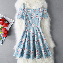 Korean Fashion 2017 New Women Spaghetti Strap V Collar Floral Print Tall Waist Cotton Dresses Girls Cute Summer Vestidos