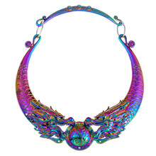 Fashion Ethnic Necklaces 2017 New Multi Color Gypsy Vintage Double Dragon Element Maxi Statement Necklace Women Collares Chokers(China)