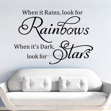 * when it rains look for rainbows english home decor PVC wall stickers living room bedroom Inspirational Words study room art