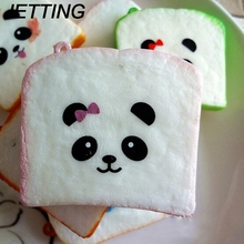JETTING New Squishy Panda Bear Printed Key Chains Kawaii Sliced Squishy Bread Soft Toast Phone Straps Bag Parts & Accessories