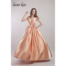 Lover Kiss Cheap Simple Vestido De Festa Beautiful Long dress Prom Gown Sexy V Neck Pleat Party Gowns 2017 Prom Dresses