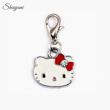 Newest 20pcs/lot 4Colors Metal Enamel Charms Pendant Lovely Cat Hello Kitty Charm for Glass Locket DIY Accessories