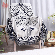 Black white geometric yarn dyes sofa towel pure cotton sofa chair blanket slip-resistant vintage sofa cover sided usage SP3762(China)