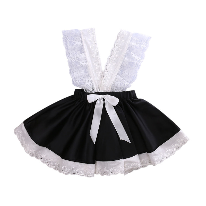 2017 Sleeveless Dresses Princess Children Baby Girl Clothing Lace Party Gown Fancy Dresses Girl Bowknot Tutu Dress(China)