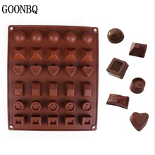 GOONBQ 1 pc 30 Hole Heart Round Shape Chocolate Mold Silicone 6 Shapes Fondant Mould Candy Jelly Mold Cake Decoration Tool