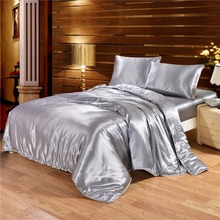 Solid Color Satin Faux Silk Grey Bedding set Duvet Cover Set Silky Bed cover 2/3/4PCS US Twin Queen King UK Single Double King(China)