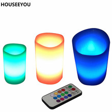 3 Colors Changing Led Candle Scented Flameless Wax Pillar Candle with Timer &Remote Christmas Romantic Home Party Decor Supplise