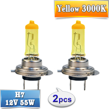 flytop 2 PCS(1 Pair) Yellow H7 Halogen Bulb 12V 55W 3000K Quartz Glass Xenon Car HeadLight Auto Lamp(China)