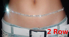 Silver Color 2Rows Crystal Sexy Women's Belly Waist Chain Body Jewelry Sparking Rhinestone Belt Body Chain Party Club Dancer(China)