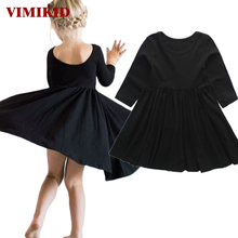 VIMIKID 2017 new girls spring dress party tutu dress children clothing princess dress kids toddler girl clothing solid color