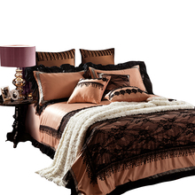 IvaRose France Silk King Queen Bedding Sets of lace Density Europe Fashion Deco Duvet Cover Bed sheet Pillowsham 4/6pcs(China)