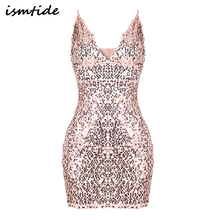 2017 Sexy Sleeveless Dresses Deep-V Halter Split Sequin Dress Backless Sexy Party Dress Casual Cut Out Sequin Mesh Sheath Dress