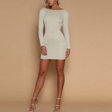 (Ship from US) 2018 New Spring Summer Style Dress Women O Neck Long Sleeve  paillette Sequins Cross Backless Bodycon Slim Party Dresses EY11 d20cbc2cf5ea