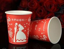 Free shipping 100pcs/lot Red Wedding thickening disposable cups wedding supplies cartoon festival tea red paper cups