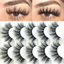 Makeup-Tools Eyelashes Faux-Mink-Hair Cruelty-Free Natural Long-Wispies 6D 5-Pairs Criss-Cross