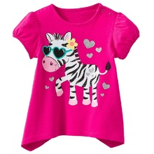 2016 Red With Zebra Cute Baby Clothes Girls T-Shirts Short Sleeve Summer Children Clothing Kids Shirts Infant Tees Shirts Tops