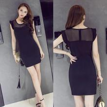 2017 New Summer Women Slim Waist Tight Bedding Bag Hip Lotus Gauze Sleeve Splicing Sexy Dress Free Shipping(China)