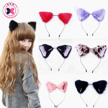 haimeikang Velvet Printed Black Cat Ears Headband Cosplay Party Anime Hair Accessories Women Girls Cat Ear Hair Clip Barrettes