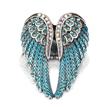 Olsen Twins Vintage Rhinestone Painting Angel Wings Ring Antique Silver Stretch Ring For Drop Shipping(China)