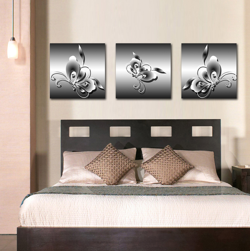 2016 real canvas painting cuadros painting animal butterfly 3 piece