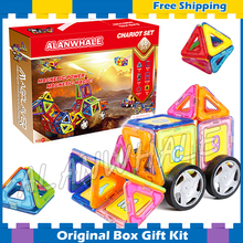 66pcs/set 3D DIY Magnetic Bricks With Car Wheels Building TOY 3D Brain Training ABS plastic magnets Designer Toys Gifts