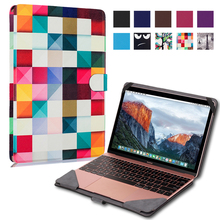 Ultra Thin Slim Stand Print Custer PU Leather Case Protective Skins Shell Bag Cover For Apple Macbook 12 12 inch Laptop Notebook