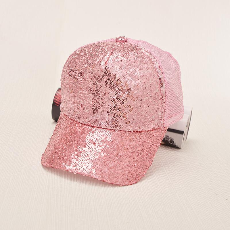 17 New Summer Black Sequins Baseball Caps For women Mesh Hat Net Cap Casquette Sparkling Leisure Sun Cap Adjustable Adult 8