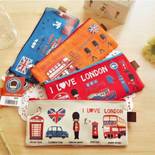 London style Pencil Case Pen Bag Cosmetic Makeup Bag Pouch Holder Women Cosmetic Bags Fresh purse zipper Coin case(China)