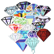 18Pcs/lot Transparent Diamonds Design Stickers For Snowboard Car Laptop Luggage Skateboard Motorcycle Decal Toy Sticker