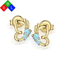 BSL Online Store Real 925 Sterling Silver Fine Jewelry Blue Gemstone Natural Sapphire Earrings Studs Butterfly Shape 2017 New(China)