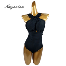 Summer new S-XXL 2017 Sexy Cross Halter women swimwear one piece swimsuit Black red Solid women bathing suits D0117(China)