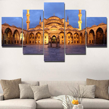 Canvas Painting HD Printed Poster For Living Room 5 Panel Istanbul Blue Mosque Wall Art Home