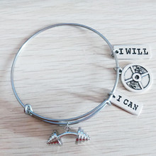 Expandable Gym Weight Lifting Barbell I Can I Will Me & Me I Choose Strength 25lb Plate Fitness Message Wire Bangle Bracelet