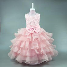 Fashion Girls Dress Bow Ball Gown Pattern 2017 Summer Rose Princess Wedding Party Dresses For Girls