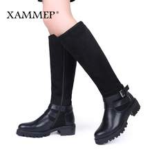 XAMMEP Women Winter Shoes Knee High Boots Big Size High Quality Leather Brand Women Shoes Wool And Plush Women Winter Boots(China)