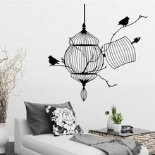 Buy Flying Birds Plants Adhesive Living Room Birdcage Wall Sticker Decals Removable Wall Stickers Home Decoration Accessories for $1.47 in AliExpress store
