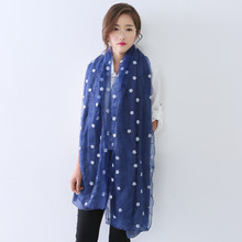 Ms double organza cotton embroidered scarf long the wind monochromatic silk scarves
