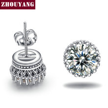Buy ZHOUYANG Classic Crown princess Cubic Zirconia Silver Color Stud Earrings Fashion Wedding Party Jewelry Wholesale ZYE848 for $1.44 in AliExpress store