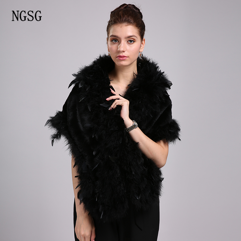 NGSG Luxury Elegant Women Scarf Black Solid 160cm Length Real Rabbit Pashmina and Ostrich Feather Soft Scarves for Russian W002