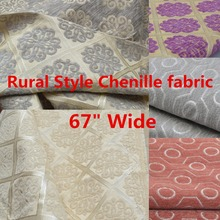 "67"" Wide Rural Style Floral Grid Upholstery Drapery Curtain Cushion,Table Sofa Chenille fabric 650g /Meter(China)"