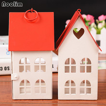 NOOLIM Red House Candlestick Creative Iron Craft Candle Lantern Lovers Romantic Candlelight Dinner Candle Holder Home Decor(China)