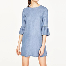 Topshop Blue Flare Sleeve Denim Dress Women Clothing 2017 Summer High Street Fashion O-neck Casual Loose Ladies Dresses vestidos