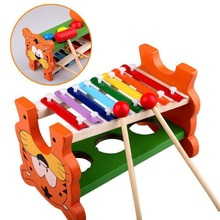 Free Shipping Wooden 8-Note Xylophone Wisdom Musical Instrument with Hitting Billiard Game Toy/Baby Education With no box