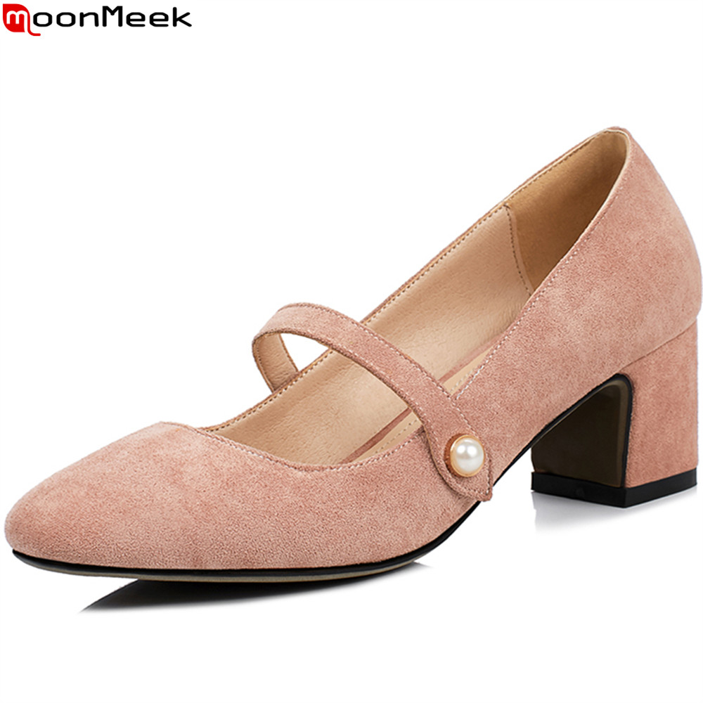 MoonMeek 2018 summer spring square toe with buckle high heels women pumps square heel flock casual dress women shoes<br>