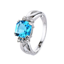 New Big Promotion 1ct Real 925 Silver Ring Element Light blue Zirconia Rings For Women Wholesale Wedding Engagement Jewelry(China)