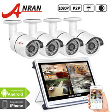 New ANRAN Surveillance 4pcs 1080P 36 IR Day Night Waterproof Security Camera System 4CH HD 12 Inch LCD Monitor AHD DVR CCTV Kit