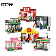 (YNYNOO)Single Sale Mini Street Scene Retail Store Shop Architecture With  Building Blocks Sets Model Toys FW138