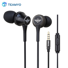 Teamyo T3 In-Ear Stereo Earphone with Microphone fone de ouvido Super Bass Headset Earbuds For iPhone Xiaomi Mobile Phone PC MP3