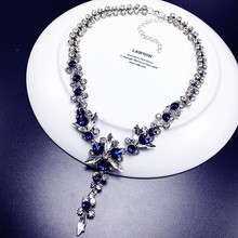 2017 New Styles Fashion Jewelry Navy Blue White Crystal Shiny Statement Glass Flowers Maxi Necklace For Women Christmas Gifts